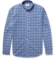 NN07 Falk Slim-Fit Button-Down Collar Printed Cotton-Poplin Shirt