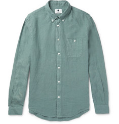 NN07 New Derek Slim-Fit Button-Down Collar Linen Shirt