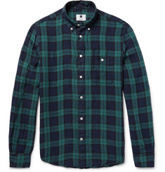 NN07 New Derek Button-Down Collar Black Watch Checked Linen Shirt