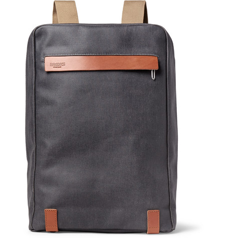 Brooks England - Pickzip Leather-Trimmed Cotton-Canvas Backpack - Anthracite