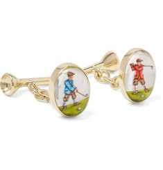 Deakin & Francis Golfer and Tee 18-Karat Gold Painted Cufflinks
