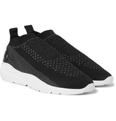 Filling Pieces - Runner Sac Leather-Panelled Stretch-Knit Sneakers