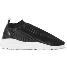 Filling Pieces Runner Sac Leather-Panelled Stretch-Knit Sneakers