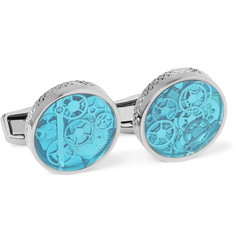 TATEOSSIAN - Industrial Gear Gunmetal-Tone and Enamel Cufflinks