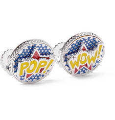 TATEOSSIAN - Rotating Pop & Wow Enamelled Rhodium-Plated Cufflinks