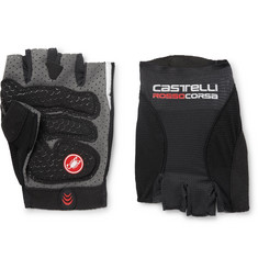 Castelli Rosso Corsa Pavé Microsuede-Trimmed Mesh Cycling Gloves
