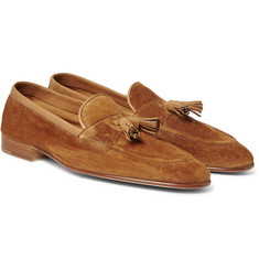 Edward Green - Portland Leather-Trimmed Suede Tasselled Loafers