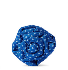 Charvet Flower Polka-Dot Silk-Faille Lapel Pin