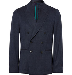 Paul Smith Blue Soho Slim-Fit Double-Breasted Wool-Blend Blazer