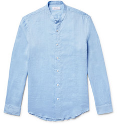 Enlist Slim-Fit Grandad-Collar Ramie Shirt
