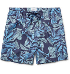 Enlist Slim-Fit Mid-Length Leaf-Print Swim Shorts