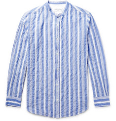 Officine Generale - Gaspard Striped Grandad-Collar Cotton-Voile Shirt
