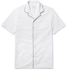 Officine Generale Dario Contrast-Piped Camp-Collar Cotton-Poplin Shirt