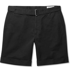 Officine Generale - Julian Belted Cotton and Linen-Blend Shorts