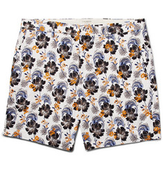 Club Monaco Baxter Embroidered Printed Linen and Cotton-Blend Shorts