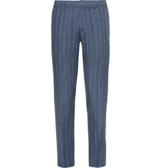 Club Monaco Blue Sutton Slim-Fit Striped Slub Linen Trousers