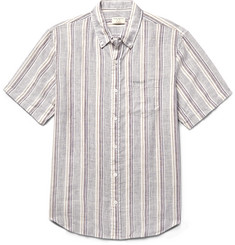 Club Monaco Slim-Fit Button-Down Collar Striped Slub Linen Shirt