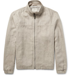 Club Monaco Herringbone Linen Harrington Jacket