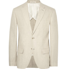 Club Monaco Beige Grant Slim-Fit Puppytooth Linen Suit Jacket