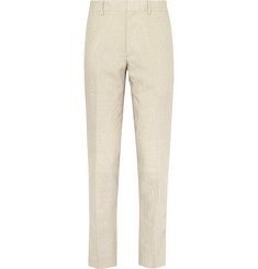 Club Monaco Beige Grant Slim-Fit Puppytooth Linen Suit Trousers