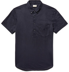 Club Monaco Button-Down Collar Cotton-Blend Jersey Polo Shirt
