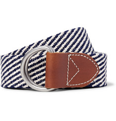 J.Crew 3.5cm Leather-Trimmed Woven Cotton Belt