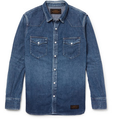 Neighborhood Slim-Fit Washed-Denim Western Shirt
