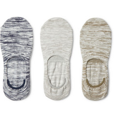 Neighborhood Three-Pack Mélange Cotton-Blend No-Show Socks
