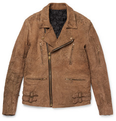 Blackmeans - Slim-Fit Distressed Suede Biker Jacket