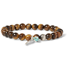 Peyote Bird Tiger's Eye, Sterling Silver and Turquoise Bracelet