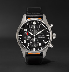 IWC SCHAFFHAUSEN - Pilot's Chronograph 43mm Stainless Steel and Leather Watch