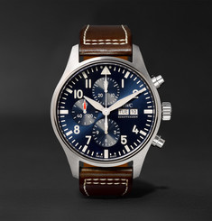 IWC SCHAFFHAUSEN - Pilot's Le Petit Prince Edition 43mm Stainless Steel and Leather Chronograph Watch