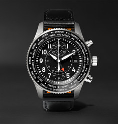 IWC SCHAFFHAUSEN - Pilot's Timezoner Chronograph 45mm Stainless Steel and Leather Watch