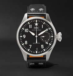 IWC SCHAFFHAUSEN - Big Pilot's 46mm Stainless Steel and Leather Watch
