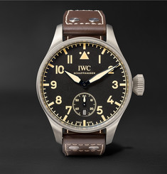 IWC SCHAFFHAUSEN Big Pilot's Heritage 48mm Titanium and Leather Watch