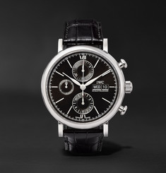 IWC SCHAFFHAUSEN - Portofino Chronograph 42mm Stainless Steel and Alligator Watch