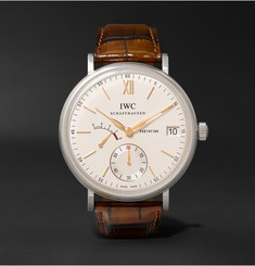 IWC SCHAFFHAUSEN - Portofino Hand-Wound Eight Days 45mm Stainless Steel and Alligator Watch