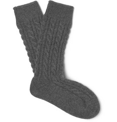 Kingsman + Corgi Cable-Knit Cashmere Socks