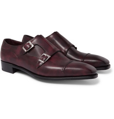 George Cleverley Caine Cap-Toe Burnished-Leather Monk-Strap Shoes