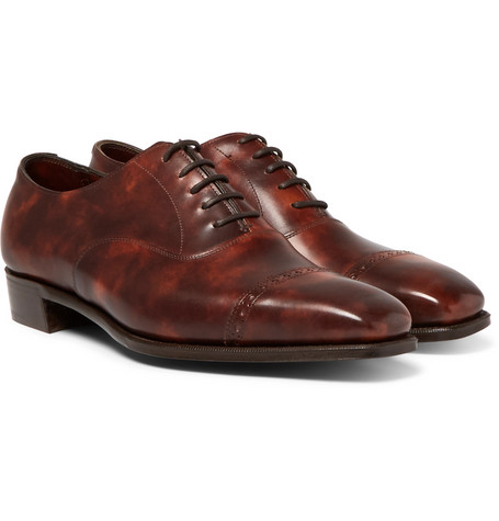 Nakagawa Burnished-leather Oxford Brogues - Tan