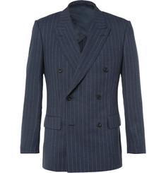 Kingsman Harry's Blue Double-Breasted Pinstriped Wool Suit Jacket