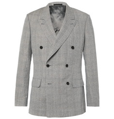 Kingsman Harry's Grey Double-Breasted Prince of Wales Checked Linen, Wool and Silk-Blend Suit Jacket