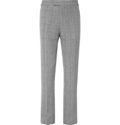 Kingsman Grey Harry Prince of Wales Checked Linen, Wool and Silk-Blend Suit Trousers