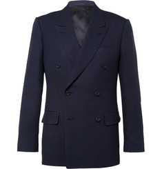 Kingsman Blue Harry Double-Breasted Wool and Mohair-Blend Hopsack Blazer