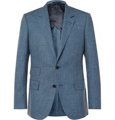 Kingsman Eggsy's Blue Mélange Wool, Silk and Linen-Blend Suit Jacket