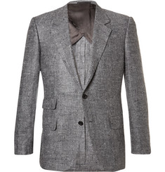 Kingsman Grey Eggsy Slim-Fit Donegal Silk and Linen-Blend Herringbone Blazer
