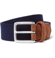 Anderson's - 3.5cm Blue Suede-Trimmed Canvas Belt