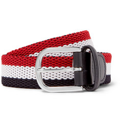 Anderson's - 3.5cm Leather-Trimmed Striped Canvas Belt