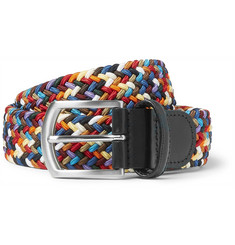 Anderson's 3cm Leather-Trimmed Woven Elastic Belt