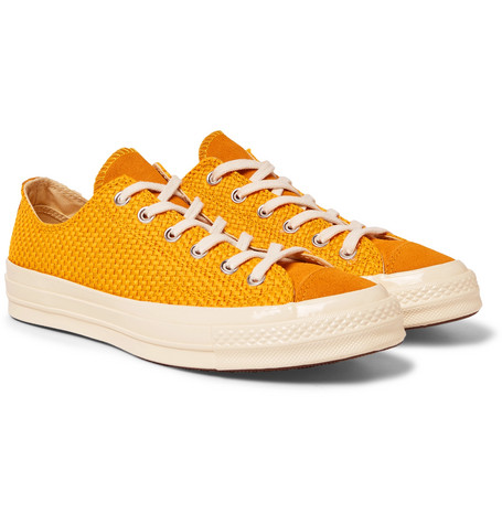 b1f74e3ac634 Converse 1970S Chuck Taylor All Star Suede-Trimmed Woven Sneakers In Mustard